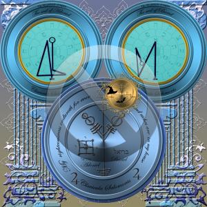 Dies ist das vierte Pentakel des Jupiter aus dem Schlüssel Salomos. Die beiden Siegel gehören Adoniel und Bariel.