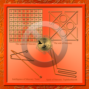 Dies ist der planetarische Talisman des Merkur: das Quadrat des Merkur, das Siegel des Merkur und die Siegel von Tiriel und Taphthartharath.