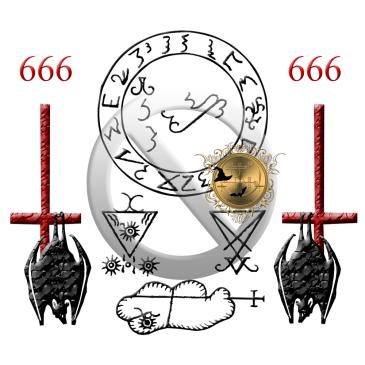 Demonerna Lucifer och Clauneck är beskrivna i Grimorium Verum och dessa är deras sigill. Häxkonst och magi.
