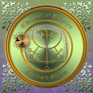 Demonen Haures finns beskriven i Goetia och detta är hans sigill.
