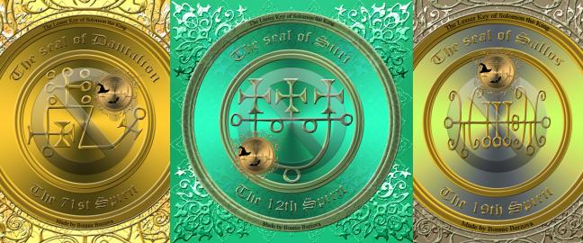 Dies sind die Siegel von Dantalion, Sitri und Sallos. Diese Dämonen sind in der Goetia beschrieben.