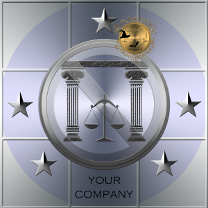 Detta är en logotyp för en jurist. Logotypen innehåller 5 stycken Solomons stjärnor för att kontrollera demoner.