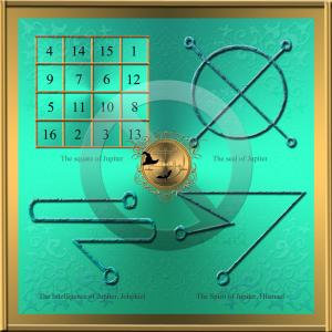 Der planetarische Talisman des Jupiter ist sehr beliebt. Es besteht aus: dem Quadrat des Jupiter und den Siegeln von Jupiter, Jophiel und Hismael.