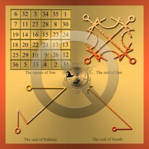Detta är planetariska talisman av Sol med Solens kvadrat och sigillen av Sol, Sorath och Nakhiel.