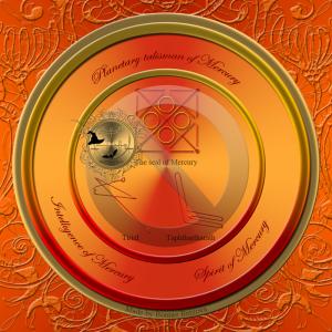 Dies ist der planetarische Talisman von Merkur mit dem Siegel von Merkur und den Siegeln von Tiriel und Taphthartharath.